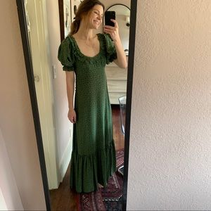Doen Green Martha's Garden 100% Silk Dress